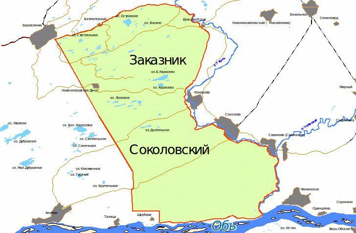Карта Соколовский заказник